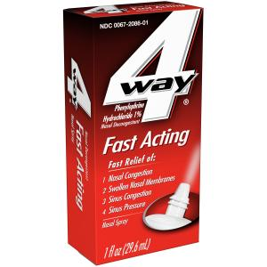 4 Way Fast Acting Nasal Spray, Nasal Decongestant, 1 fl oz
