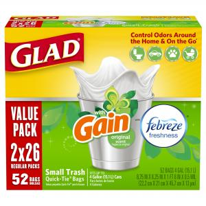 Glad OdorShield Small Trash Bags – Gain Original with Febreze Freshness – 4 Gallon – 26 ct – 2 Pack
