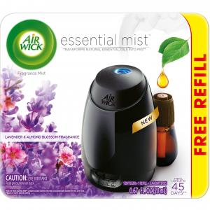 Air Wick Essential Mist Fragrance Oil Diffuser Kit (Gadget + 1 Refill), Lavender & Almond Blossom, Air Freshener