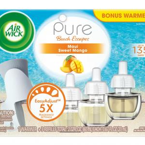 Air Wick Pure Scented Oil Starter Kit (Free Warmer + 3 Refills), Maui Sweet Mango, Air Freshener