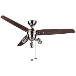 48″ Honeywell Wicker Park Ceiling Fan, Modern 3 Light, Satin Nickel