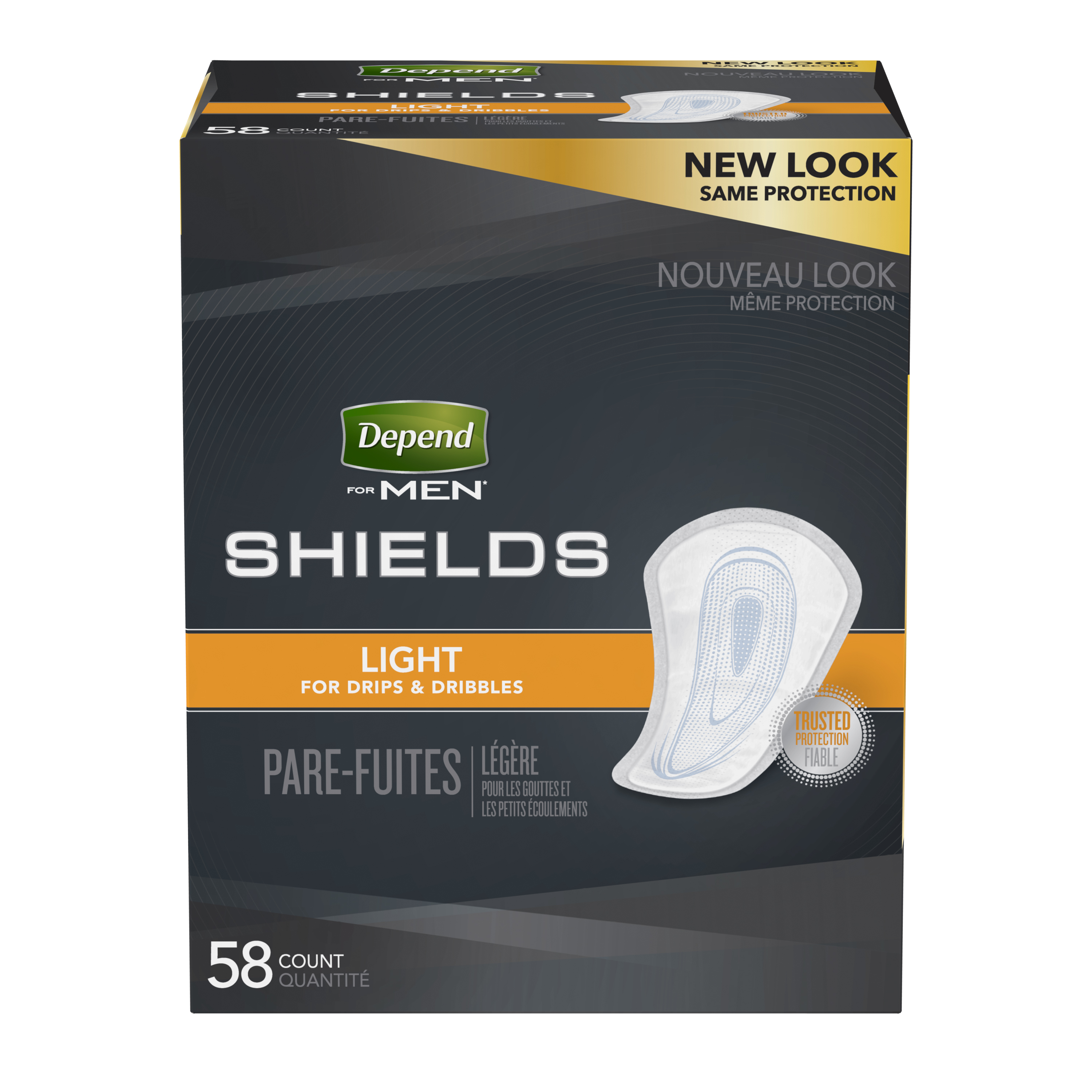 Depend Incontinence Shields For Men Light Absorbency 58