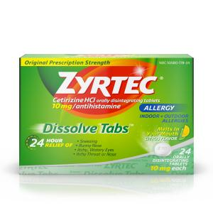 Zyrtec Allergy Dissolve Tablets in Citrus Flavor, Cetirizine HCl, 24 ct