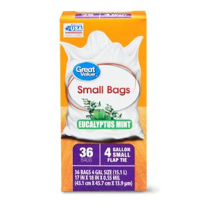 Great Value Small Trash Bags, Eucalyptus Mint, 4 Gallon, 36 Count
