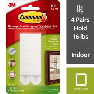 3M Command Damage Free-Hanging Large Picture Hanging Strips – 4 PRS, 4.0 PR