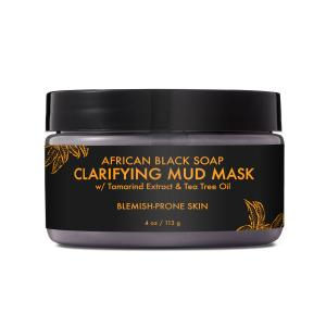 African Black Soap Clarifying Mud Mask – Clarifies and Balances Oily, Blemish-Prone Skin for a Smooth Complexion – Sulfate-Free with Natural and Organic Ingredients (4 oz)