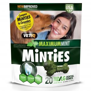 15% Off! Minties Teeth Cleaner Dental Dog Treats Medium/Large, 20 Count