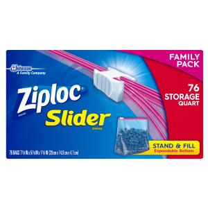 Ziploc Slider Storage Bags, Quart, 76 Count