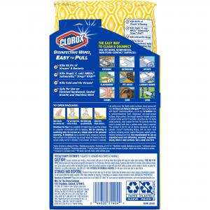 Clorox Disinfecting Wipes, Crisp Lemon – 1 Soft Pack – 75 Wipes