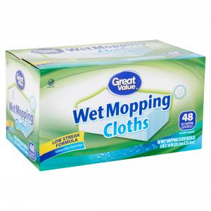 Great Value Wet Mopping Cloth Refills, 48 count