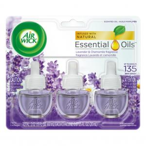 Air Wick Scented Oil 3 Refills, Lavender & Chamomile, (3X0.67oz), Air Freshener