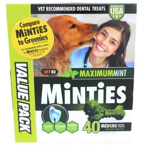 15% Off! Minties Teeth Cleaner Dental Dog Treats Medium/Large, 40 count