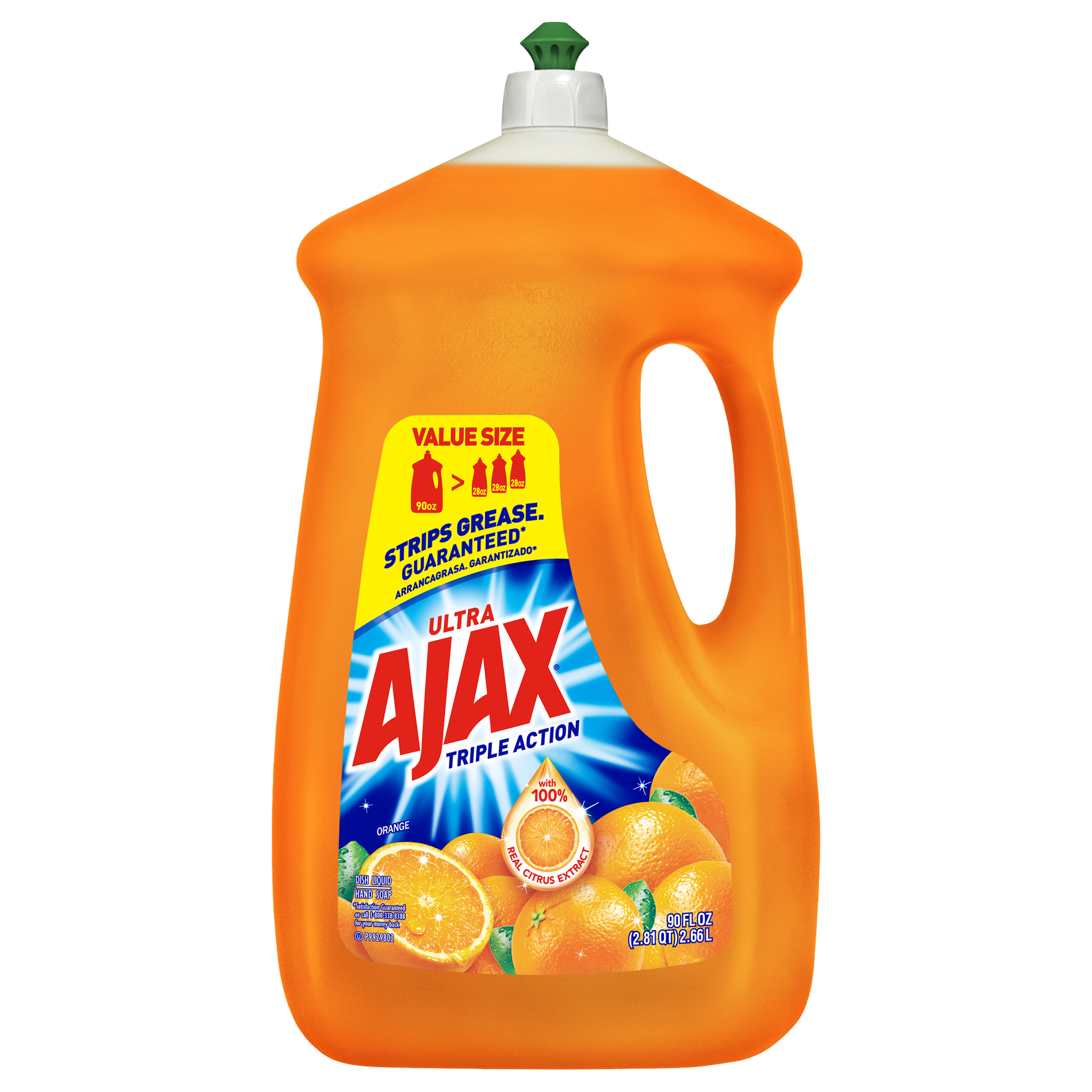 Ajax Ultra Triple Action Liquid Dish Soap, Orange – 90 fl oz