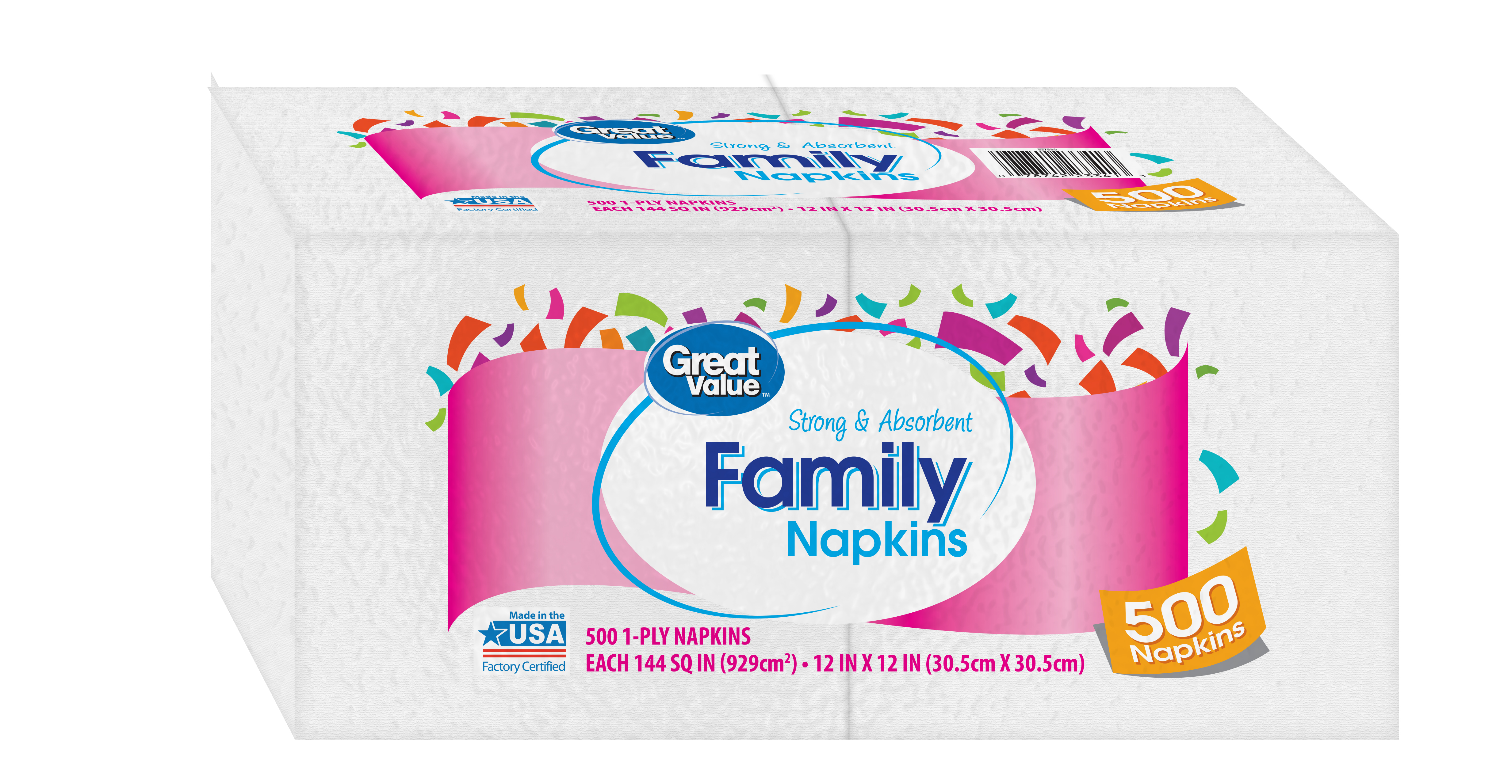 (2 pack) Great Value Family Napkins, White, 500 Napkins (1000 Napkins Total)