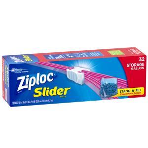 Ziploc Slider Storage Bags, Gallon, 32 Count