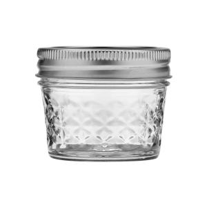 Ball Quilted Crystal Mason Jar w/Lid & Band, Regular Mouth, 4 Ounces, 12 Count