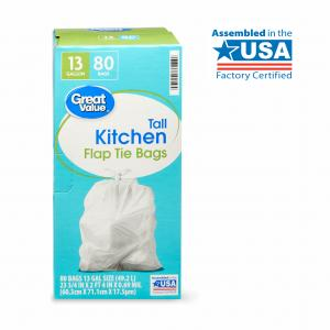 Great Value Tall Kitchen Flap Tie Trash Bags, 13 Gallon, 80 Count