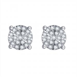 1/4 Carat T.W. Diamond Cluster Sterling Silver Stud Earrings