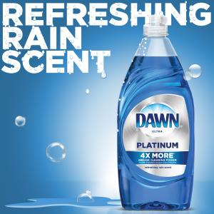(2 Pack) Dawn Platinum Dishwashing Liquid Dish Soap Refreshing Rain 24 fl oz