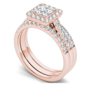 1-1/4 Carat T.W. Diamond Single Halo Cluster Two-Band 14kt Rose Gold Engagement Ring Set