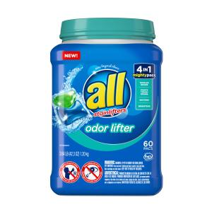 all Mighty Pacs Laundry Detergent, 4-in-1 with Odor Lifter, 60 Count