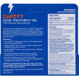 Zapzyt Acne Treatment Gel Clears Acne, Pimples, and Blackheads Fast, 1 Oz, Tube