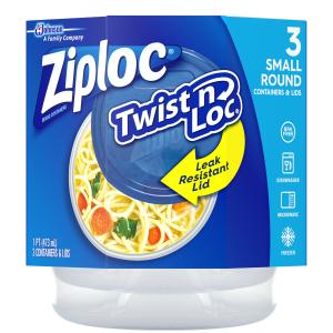 Ziploc Twist 'n Loc Container, Small, Round, 3 ct