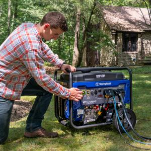 Westinghouse WGen9500 Heavy Duty Portable Generator – 9500 Rated Watts & 12500 Peak Watts – Gas Powered – Electric Start – Transfer Switch & RV Ready – CARB Compliant