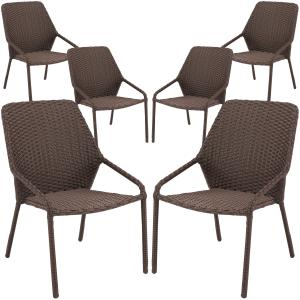 Mainstays Danella Outdoor Patio Wicker Dining Chairs, Set of 6