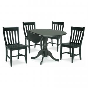 42″ Dual Drop Leaf Table with 4 Schoolhouse Chairs