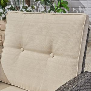 Sanger Outdoor Wicker 3 Seater Sofa with Cushion, Grey, Beige
