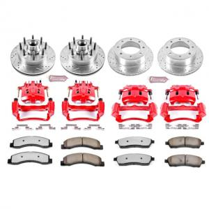 Power Stop Front and Rear Z36 Truck & Tow Brake Pad and Rotor Kit with Red Powder Coated Calipers KC1393-36