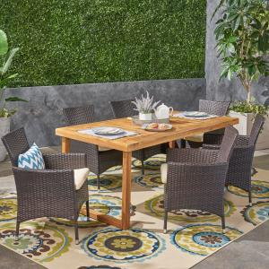 Jack Outdoor 7 Piece Acacia Wood Dining Set with Wicker Chairs and Cushions, Sandblast Natural, Multi Brown, Beige