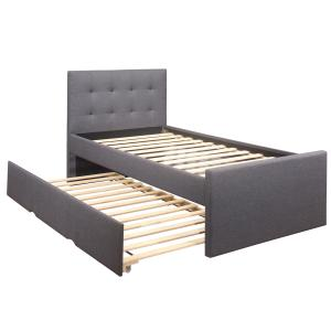 Emory Upholstered Twin Platform Bed with Trundle, Charcoal, by Hillsdale Living Essentials