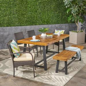 Leslie Outdoor 6 Piece Dining Set with Stacking Wicker Chairs and Bench, Sandlblast Teak, Multi Brown, Cream