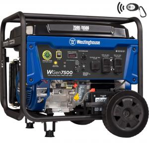 Westinghouse WGen7500 Portable Generator with Remote Electric Start – 7500 Rated Watts & 9500 Peak Watts – Gas Powered – CARB Compliant – Transfer Switch Ready
