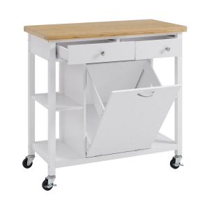 Better Homes & Gardens Michael Wood Kitchen Cart with Bamboo Top, Multiple Finishes