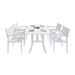 Vifah Bradley Outdoor Patio Dining Set 4-seater Acacia Wood with Curved Leg Table and 4 Stacking Chairs