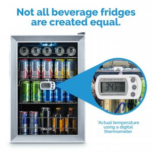 NewAir Beverage Refrigerator 84 Can Capacity Center, Soda Beer Cooler, AB-850 Stainless Steel