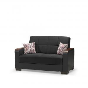 Armada Fabric Upholstery Wooden Top Arm Convertible Sleeper Love Seat with Storage