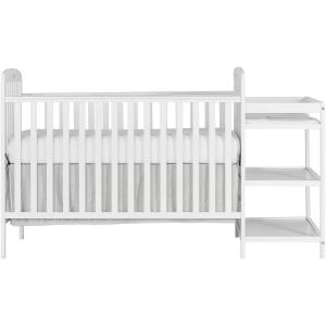 Dream On Me Anna 4-in-1 Convertible Crib and Changer, White