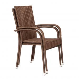 Balkene Home Morgan Resin Wicker Stacking Patio Dining Chair 4-Pack in Mocha