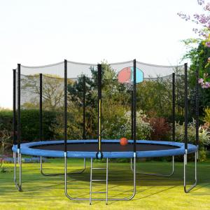 Merax 15′ Round Trampoline with Safety Enclosure, Basketball Hoop and Ladder