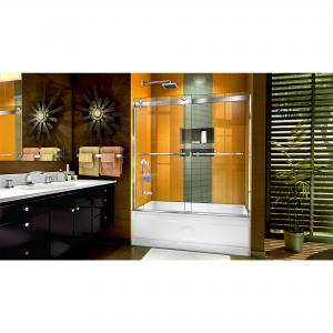 DreamLine Sapphire 56-60 in. W x 60 in. H Semi-Frameless Bypass Tub Door in Chrome