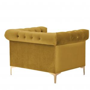 Chic Home Vanessa Velvet Modern Contemporary Button Tufted with Gold Nailhead Trim Goldtone Metal Y-leg Club Chair, COGNAC