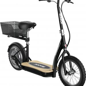 EcoSmart Metro HD Electric Scooter –Padded Seat, Wide Bamboo Deck, 16″Air-Filled Tires, 350wBrushless Hub-driven Motor, Up to 15.5mph& 12-Mile Range, Rear-Wheel Drive