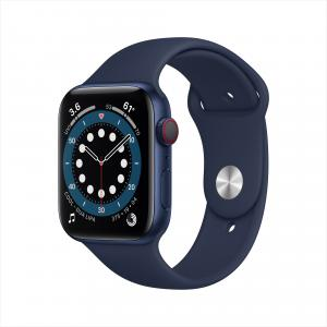 Apple Watch Series 6 GPS + Cellular, 44mm Blue Aluminum Case with Deep Navy Sport Band – Regular