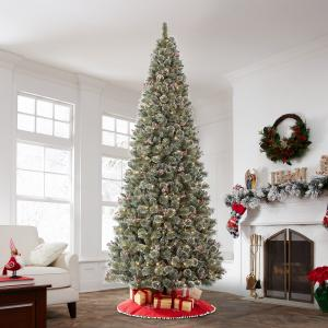 Holiday Time Pre-Lit Glittering Frost Pine Christmas Tree, 12′, Warm White LED