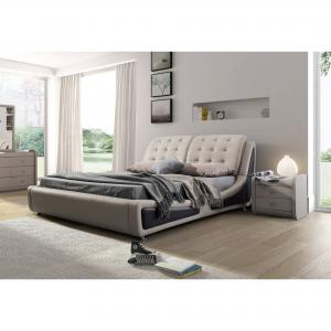Olivia Contemporary Button Tufted Faux Leather Platform Bed, Beige/Brown, Queen