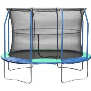 JumpKing Oval 8′ x 11.5′ Trampoline, with Enclosure, Blue/Green